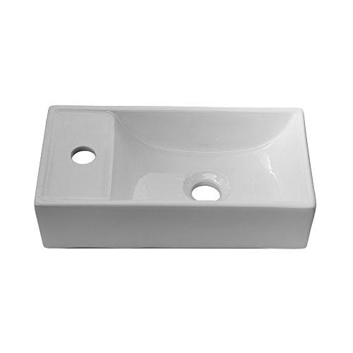 ENKI pila cuadrada para lavabo diseño minimalista cerámica blanca