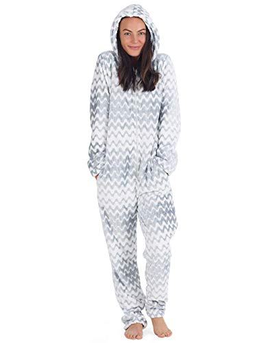 Onesie Damen Kuscheliger Jumpsuit Pyjama mit Geometrische Motive (S, hellgrau und weiß)