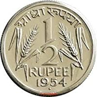 Collection House 1 2 Rupee 1954 Rare Collection of India