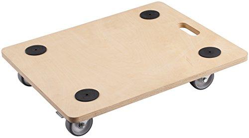 Meister Transportroller 590 x 490 mm - 200 kg Tragkraft - Sperrholz - PU-Räder / Möbelroller mit Bremse / Transporthilfe für Umzug / Rollwagen für Möbel-Transport / Kistenroller aus Holz / 822130