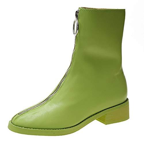 Sllowwa Stiefel Damen Winter Volltonfarbe Knöchel Stricken vorderen Reißverschluss Ringe Anhänger Stiefel Ankle Boots(Grün,39 EU)