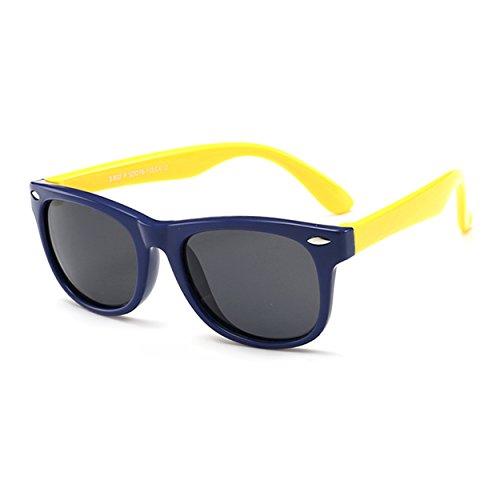 Occhiali da sole polarizzati wayfarer per bambini ragazzi e ragazze 2-8 anni, flessibili lenti e gommati montatura con cassa
