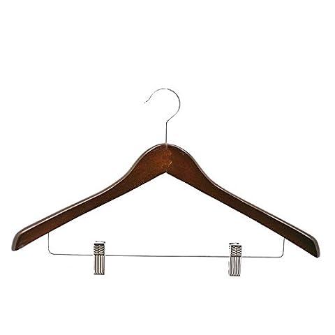 ZWZT 10 Stück Holz Anzug Kleiderbügel Multifunktions-High-End-Massivholz-Set komplett mit Gestell