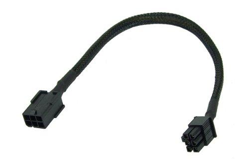 Phobya 6Pin Netzteil Verlängerung 30cm - Schwarz Kabel Lüfterkabel und Adapter - 6 Pin Verlängerung