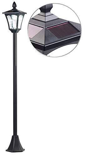 Royal Gardineer Gartenlampe: Solar-LED-Gartenlaterne, Dämmerungssensor, 40 lm, dimmbar, IP44, 1,6 m (Standlaterne)