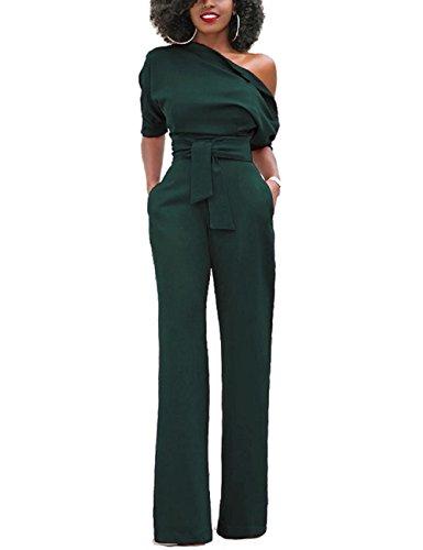 LRUD Damen One Schulter Wide Leg Overalls Strampelhöschen Lange Hosen Jumpsuits ()