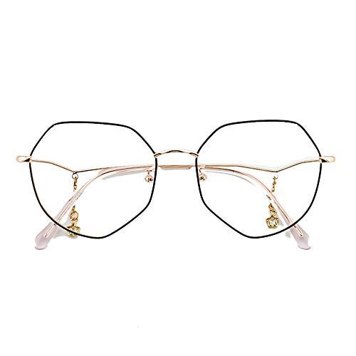 HAIBUHA Brillengestell Polygon Unregelmäßigen Rahmen Vintage Rahmen Brillengestell,Schwarze Rose