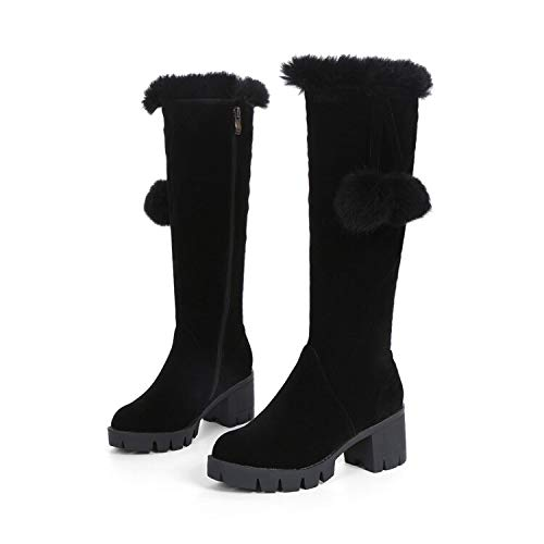 andalen Winterstiefel Big Size 33-43 New Round Toe Stiefel Für Frauen Heels Fashion Winter Schuhe Casual Schneeschuhe 999-2 10 Schwarz ()