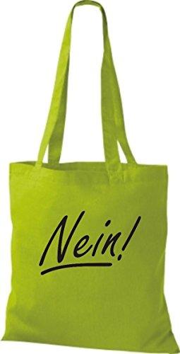 ShirtInStyle Stoffbeutel Baumwolltasche Nein!, Farbe Pink limegreen