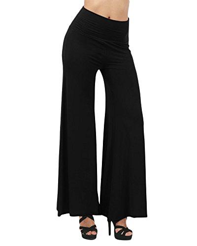 f1b49e1e12 Mujeres Pantalones Anchos Pierna Baggy Largos Palazzo Pantalón Elástica  Cintura Alta Suave para Yoga Casual Negro