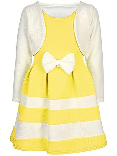 BEZLIT Mädchen-Kleid Kinder-Kleider Spitze Winter-Kleid Fest-Kleid Lang-Arm Kostüm 30003 Weiß-Gelb 104 (Designer Kinder Kleid)