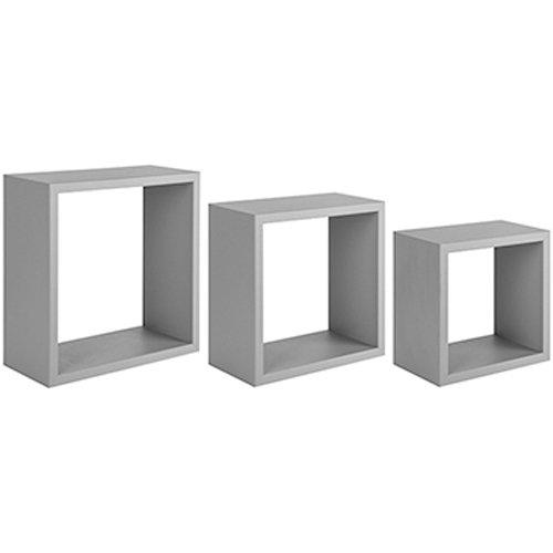 Sanitec incubo mensole da parete, pvc, grigio sasso, 15.5x35.0x35.0 cm, 3 unità