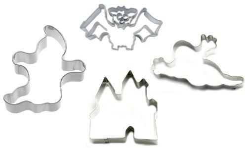 """Halloween Ausstechset """" escalofriante 25,4 cm te dé un ataque de conjunto de 4 de trampas de castillo - espíritu - fantasma - murciélago de moldes para galletas con moldes para galletas con forma de"""
