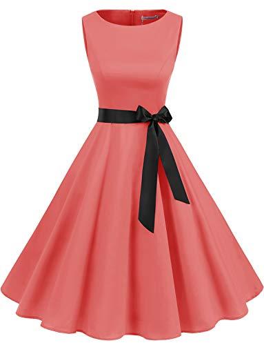 Gardenwed Damen 1950er Vintage Cocktailkleid Rockabilly Retro Schwingen Kleid Faltenrock Coral 2XL (50er Der Jahre Stil Im Röcke)
