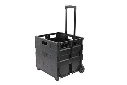1PLUS XXL klappbarer Transport-Trolley Einkaufstrolley Klappbox Transportwagen Einkaufsroller, 100 x 38 x 42 cm (H x L x B), Volumen: 46 Liter, in verschiedenen Farben (Schwarz)