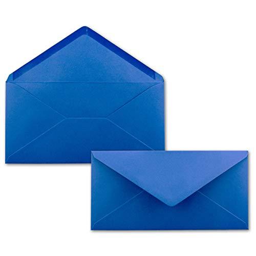 100 Brief-Umschläge Royal-Blau/Königsblau DIN Lang - 110 x 220 mm (11 x 22 cm) - Nassklebung ohne Fenster - Ideal für Einladungs-Karten - Serie FarbenFrohu00ae