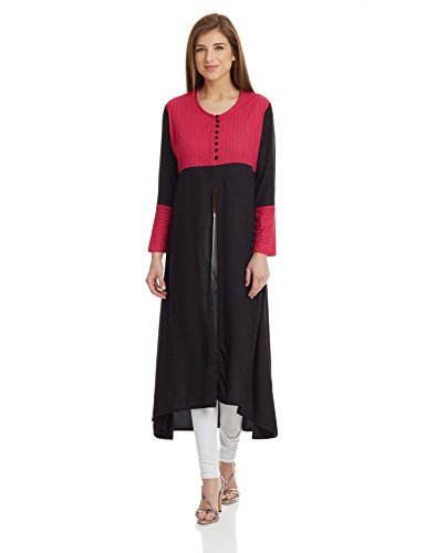 Jaipur Kurti Women's A-Line Kurta (JK2655_Black_Medium)