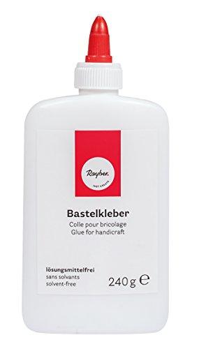 Rayher Hobby 3340800 Bastelkleber/Bastelleim, flüssig, säurefrei, lösungsmittelfrei, trocknet transparent, elastisch trocknend, für Kinder, Schulkleber, Schleim, Slime, 240 g, weiß