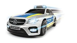 Dickie Toys 203716018 Mercedes, AMG E43, Coche de Juguete, Coche de policía, vehículo con luz y Sonido, 1:16, Plata/Azul