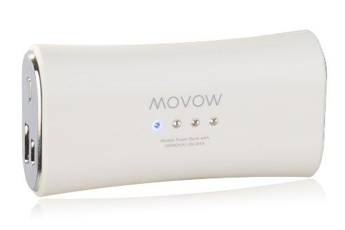movow-Power Bank/Batteria/batteria esterna (USB, 5V/1a Output) con pietre Swarovski bianco
