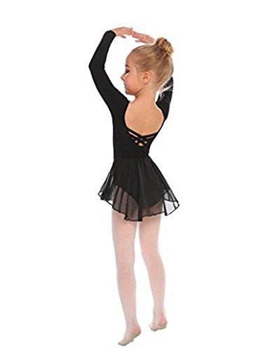 ttkleidung Ballettkleid Mädchen Langarm Baumwolle Balletttrikot Ballettanzug Tanzkleid Tanzbody mit Rock Tütü ()