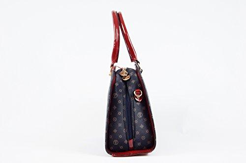 Tasche Damentasche Detailprägung Luxux Taymir schwarz rot braun beige creme Blau-Rot