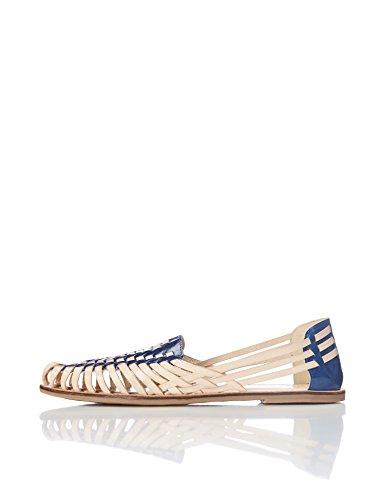 Find. Sandalias de Cuero Trenzado Mujer, Varios Colores Tan/Navy, 41 EU