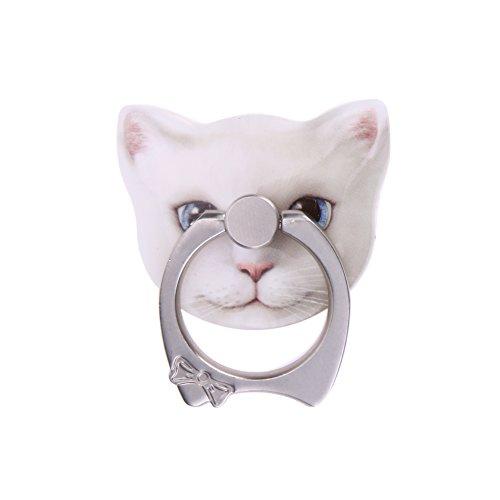 Foto de Soporte de Anillo de Teléfono Demiawaking Sostenedor del Soporte del Teléfono Móvil del Anillo de Dedo de 360 Grados para Todo el Teléfono Elegante (Gato blanco)