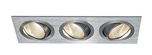 SLV LED Deckeneinbaustrahler New Tria 3 DL Square Set, COB, 3000K, 38 Grad, inklusiv Treiber, Clipfedern, alu gebürstet 114216 (Loft 9 Licht)