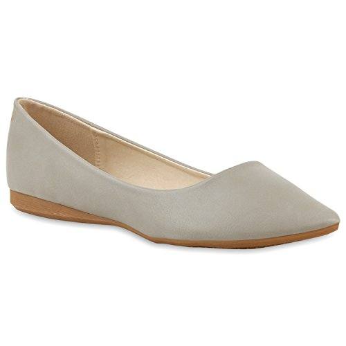 Klassische Damen Ballerinas Metallic Schuhe Spitze Schuhspitze Grau Glatt