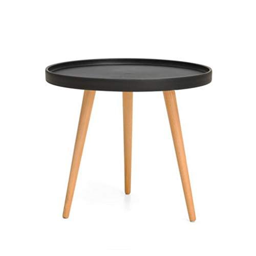 M-JH Table d'appoint, Table de Bout Ronde en Bois Massif, Bureau, Cuisine, Table Basse Moderne de Salon (Couleur : Noir)