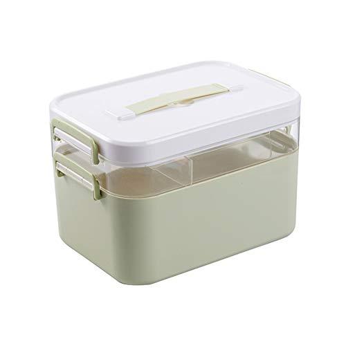 Medizin-Box Nach Hause Multifunktions-Zweischicht-Notfall Tragbare Medizin-Box Aufbewahrungsbox Staub,Green,L (Trockener Kasten-schrank)