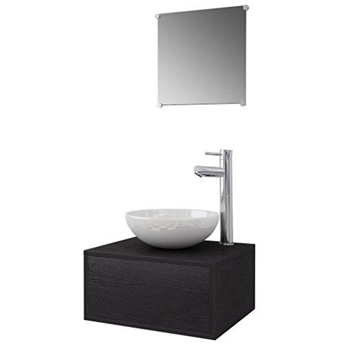 Festnight 4-TLG. Badezimmermöbel-Set Badmöbel Set inkl. Unterschrank, Spiegel, Waschbecken und Wasserhahn - Schwarz
