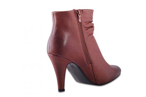 Classique chaussures pour femmes automne hiver doublée légère ankle boots dentelle, talons hauts escarpins femme bottes femme aspect cuir Beige - Camel