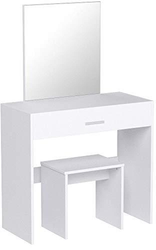 WOLTU MB6043ws Schminktisch mit Hocker und Spiegel Kosmetiktisch mit Schublade Frisierkommode Schminkspiegel Weiß