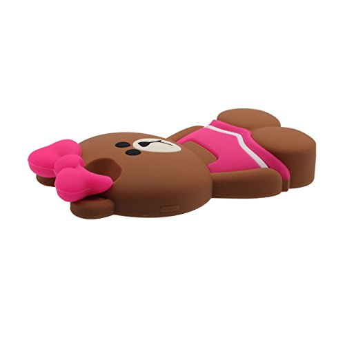 Rubber Silicone Gel [ Surface Lisse ] Souple Mince Cartoon Animal [A Bear Porter Jupe] Coque Housse de Protection Case pour Apple iPhone 6S Plus / 6 Plus 5.5 inch - Marron rose