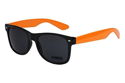 X-CRUZE® 8-085 X0 Nerd Sonnenbrille Retro Vintage Design Style Stil Unisex Herren Damen Männer Frauen Brille Nerdbrille - schwarz/orange