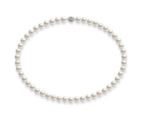 Schmuckwilli Damen Muschelkernperlen Perlenkette Weiß mit Super Hocher Glanz Magnetverschluß echte Muschel 50cm dmk0018-50 (8mm)