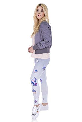 Fringoo - Legging de sport - Femme Taille Unique Pink and Purple Patches