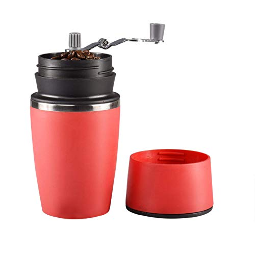 SODIAL Portable Manual Coffee Grinder, Adjustable Single Cup Coffee Maker Ceramic Burr Coffee Grinder Mug with Built-in Grind and Brew System for Travel Camping Office (Red)