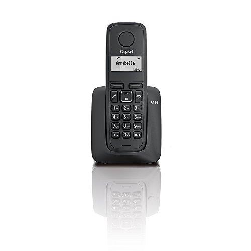 Gigaset A116 - Teléfono DECT inalámbrico, agenda de 50 contactos, 10 tonos, color negro