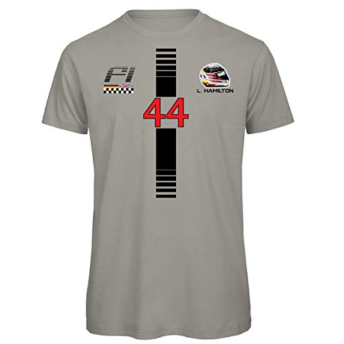 KiarenzaFD Formula Lewis 44 Hamilton UNO 1 Grand Prix Herren T-Shirt, KTS02207-XL-Grigio-scuro, dunkelgrau, XL