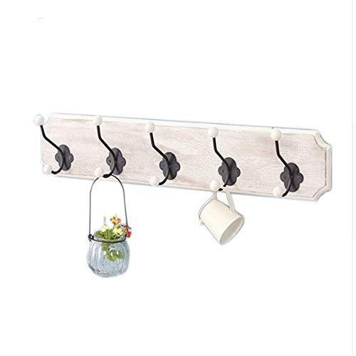 yuluoyiHaushalt Aufbewahrungsbox Holz Badezimmer Wand Hängen Schienen 5 Haken Organisation Schlüssel Kleidung Jacke Und Hut Handtuchhaken -