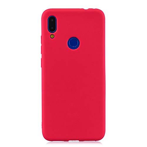 cuzz Funda para Xiaomi Redmi Note 7+{Protector de Pantalla de Vidrio Templado} Carcasa Silicona Suave Gel Rasguño y Resistente Teléfono Móvil Cover-Rojo