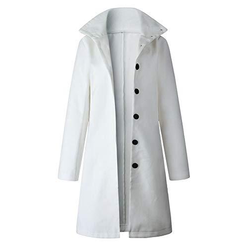 HOHOFAN-Ms. Cappotto lungo invernale caldo, giacca invernale, bianco S