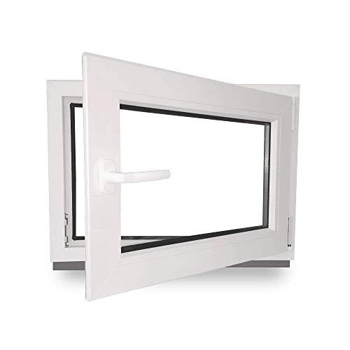 fenster 80x60 Kellerfenster - Kunststoff - Fenster - weiß - BxH: 80x60 cm - DIN rechts - 3-fach-Verglasung - 60mm Profil - verschiedene Maße