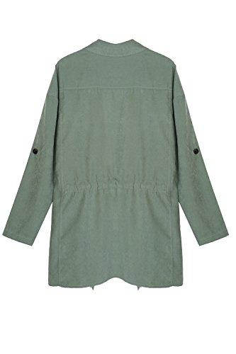 Le Donne Occasionale Irregolare Volare Tunica Outwear Trenchcoats Con Manica Regolabile. Green