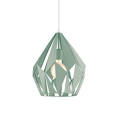 EGLO Pendellampe Carlton-P, 1 flammige Vintage Pendelleuchte, Retro Hängelampe aus Stahl, Farbe: Pastell hellgrün, Fassung: E27, Ø 31 cm