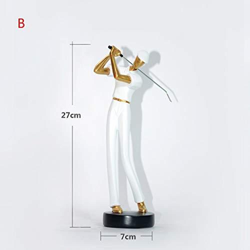 GHMOZ Personalisierte Figur for Golf Sport Figuren Mini Statue Hauptdekorationen Wohnkultur Puppen (Color : White, Size : B) -