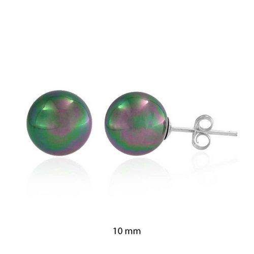 Bling Jewelry Argento Arcobaleno Peacock Simulata Perla Sfera Orecchini 10 (10 Millimetri Sintetico Perle)